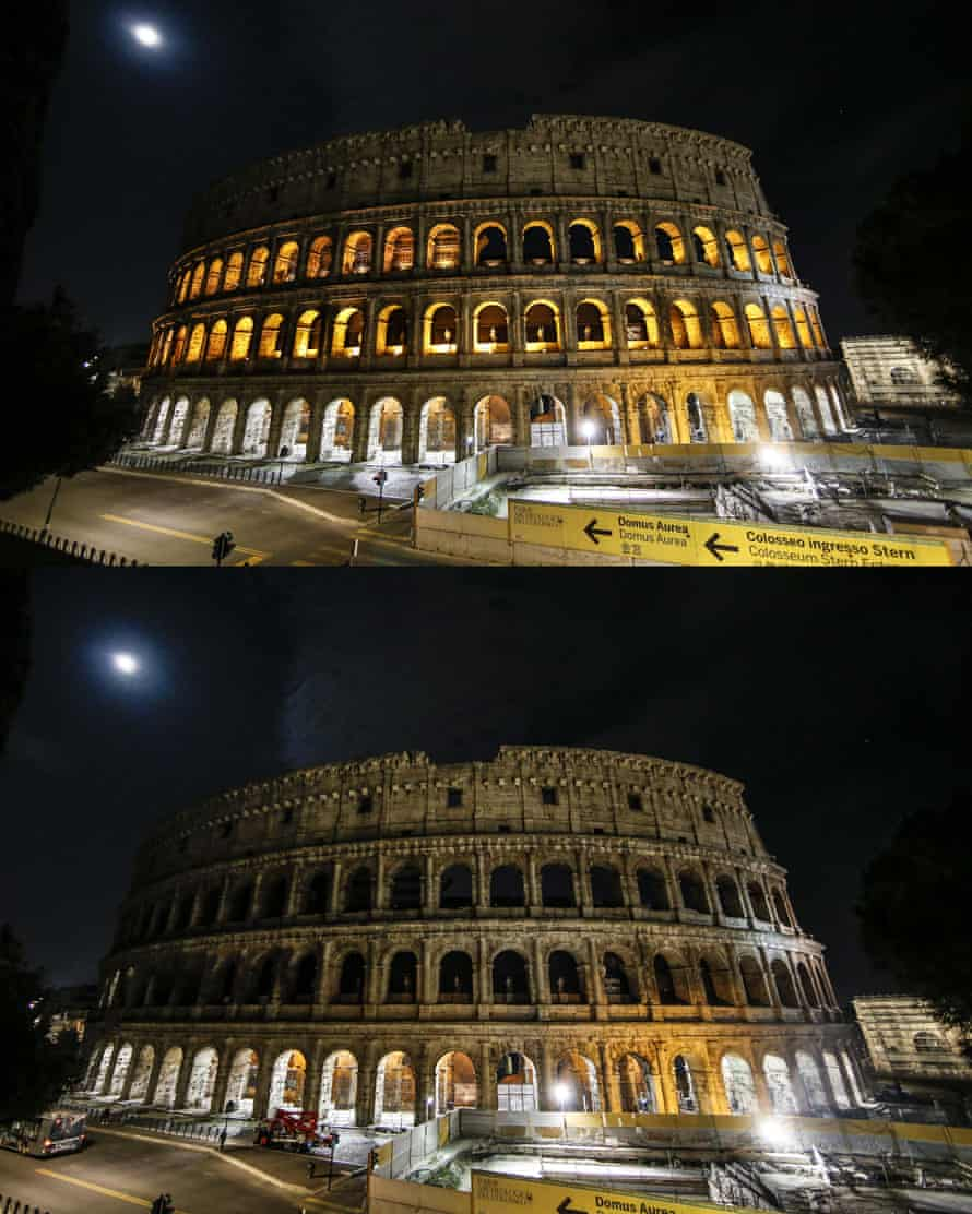 The Colosseum in Rome before and after being plunged into darkness