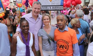 Cynthia Nixon with Mayor Bill de Blasio and wife Chirlane McCray and activist Al Sharpton during the New York City Pride 2016 march.