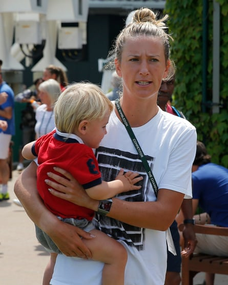 Victoria Azarenka with her son at Wimbledon in 2018.