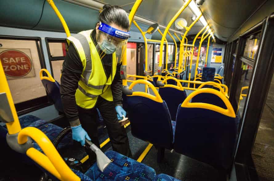 Fabricio Salgado doing a deep clean of the seats which last a few weeks. This is on top of the daily touch point and general cleaning of the buses and the special once every 28 days anti Covid spraying