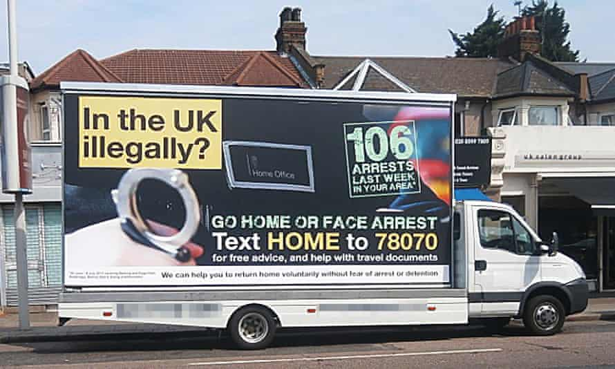 As part of Operation Vaken, vans drove around six London boroughs, carrying billboards that warned: 'In the UK illegally? Go home or face arrest.'