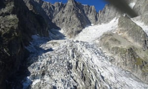 The Planpincieux glacier on the Grandes Jorasses peak of the Mont Blanc massif