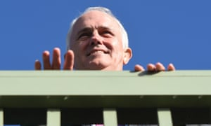 Malcolm Turnbull enjoys the view at the Anglesea Surf Live Saving Club near Geelong in the electorate of Corangamite.