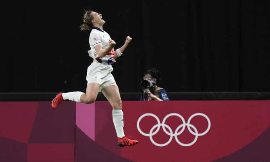 Ellen White celebrates her match-winning goal in Sapporo.