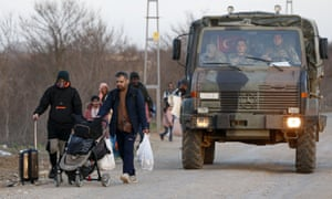 A Turkish military truck with refugees near the Pazarkule border crossing to Greece, March 2020