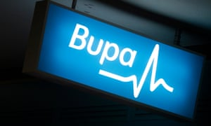 A glowing Bupa sign