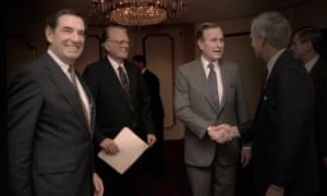 The most powerful man you never heard of ... Doug Coe (right) with President George HW Bush .