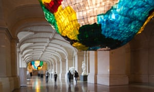 Looking up: the Palais des Beaux-Arts museum, with the artwork Deux Sacs pour Lille by Gaetano Pesce.