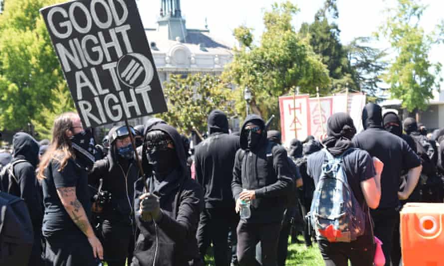 Antifa protesters in Berkeley.