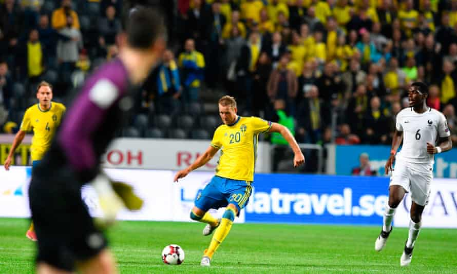 Hugo Lloris is left stranded as Ola Toivonen scores from 50 yards out to earn Sweden a dramatic win.