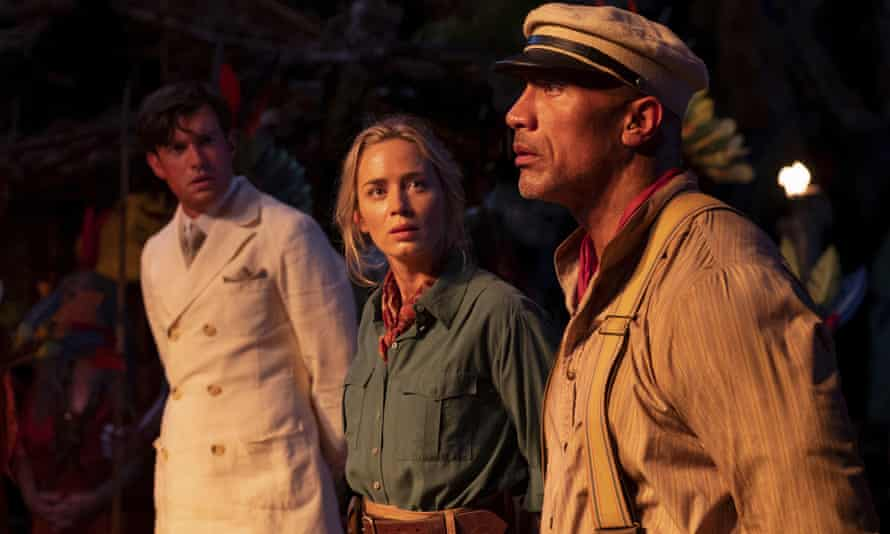Jack Whitehall, Emily Blunt and Dwayne Johnson in Jungle Cruise
