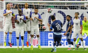 Leo Messi takes aim against USA in the Copa América Centenario in 2016 – a tournament that was not even held in South America.