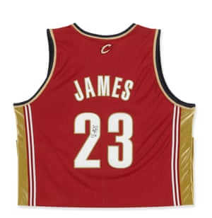 """LeBron James Cleveland Cavaliers Jersey Official NBA game jersey Polyester Signed by James """"LBJ #23"""" on the back Framed Estimate $600/800"""