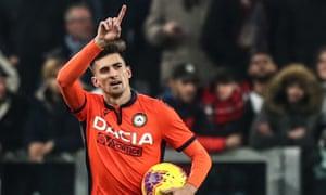 Ignacio Pussetto celebrates after scoring against Juventus in December 2019.