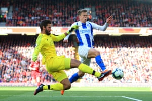 Solly March in action for Brighton against Liverpool at Anfield.