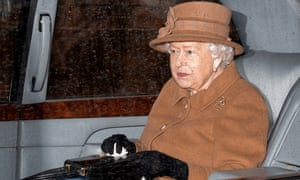 The Queen is driven away from a church service at Sandringham