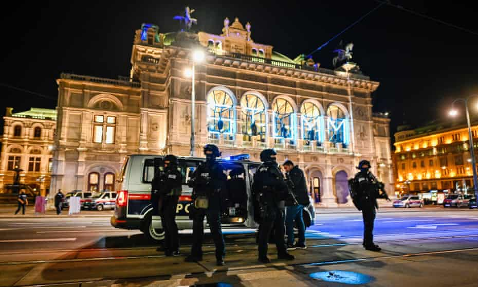 Armed police stand outside the Vienna State Opera amid a terrorist attack in the Austrian capital.