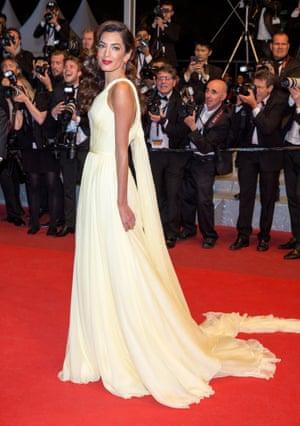 Amal Clooney in lemon yellow Atelier Versace