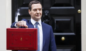 George Osborne poses with the red budget box outside No 11 Downing Street