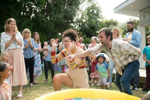 'Married, house, baby, done': Rose Matafeo and Matthew Lewis at a baby shower.