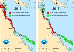 2016-2017 GBR bleaching map of the Great Barrier Reef. Australia.