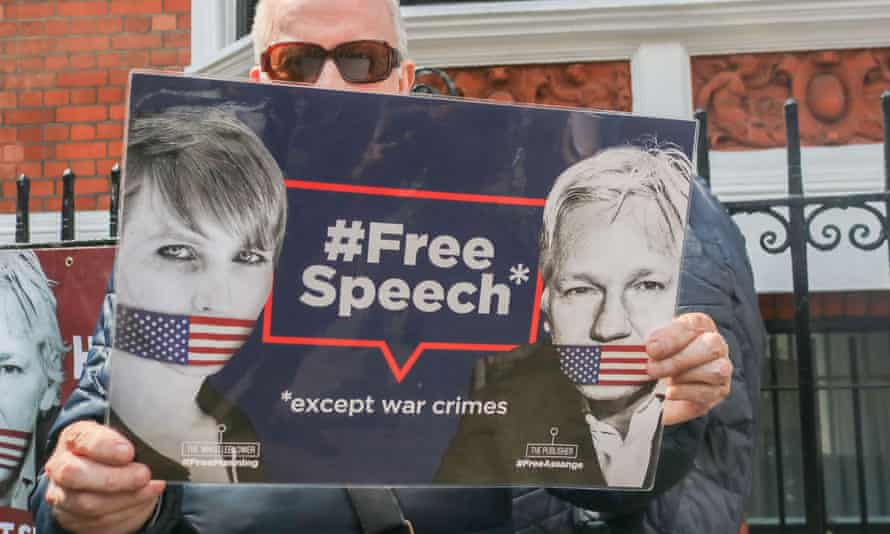 Supporters of Julian Assange protest outside the Ecuadorian embassy in London.