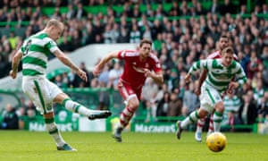 Leigh Griffiths scores the second goal for Celtic via the penalty spot to take his league tally for the season to 11 goals.