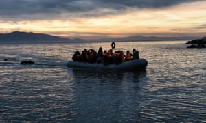 Refugees on inflatable boat