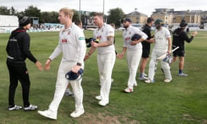 Players shake hands at Chelmsford after Essex sealed Worcestershire's relegation from County Championship Division One.