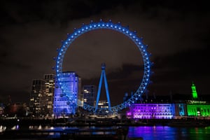 The same blue lighting was used on the London Eye, in the heart of the capital to thank NHS staff for their role in the pandemic.