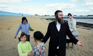New horizons: one of the Haredi families to have moved from London to the Essex coast.