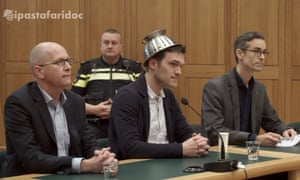 "Mathé Coolen, an ""archbishop"" of Pastafarianism, wearing his colander in court"