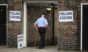 An elderly member of the public arrives to cast his vote in the EU referendum at Royal Hospital Chelsea on June 23, 2016 in London, United Kingdom.