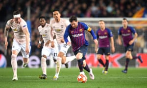 Lionel Messi leads (from left) Phil Jones, Fred and Chris Smalling a merry dance in Manchester United's comprehensive Champions League defeat at Barcelona.