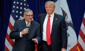 Donald Trump is joined onstage by Joe Arpaio at a campaign rally in Marshalltown, Iowa, in January 2016.