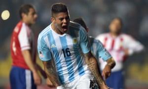 Argentina's defender Marcos Rojo celebrates.