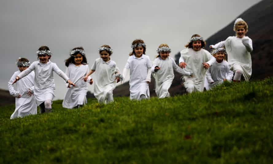 Children at Grasmere primary school in Cumbria took to the fells to stage their virtual nativity