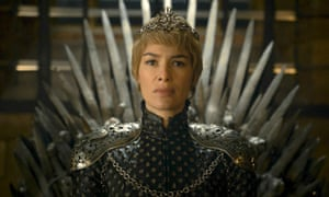 Cersei Lannister on the Iron Throne.