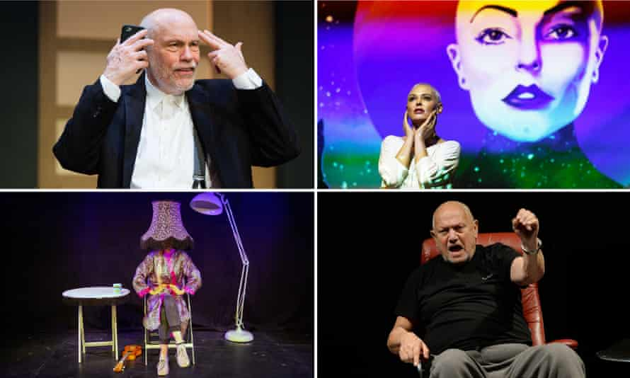 Clockwise from top left: John Malkovich in Bitter Wheat, Rose McGowan, Steven Berkoff in Harvey and Sexy Lamp.