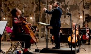Sheku Kanneh-Mason and conductor John Wilson in the Philharmonia Sessions.