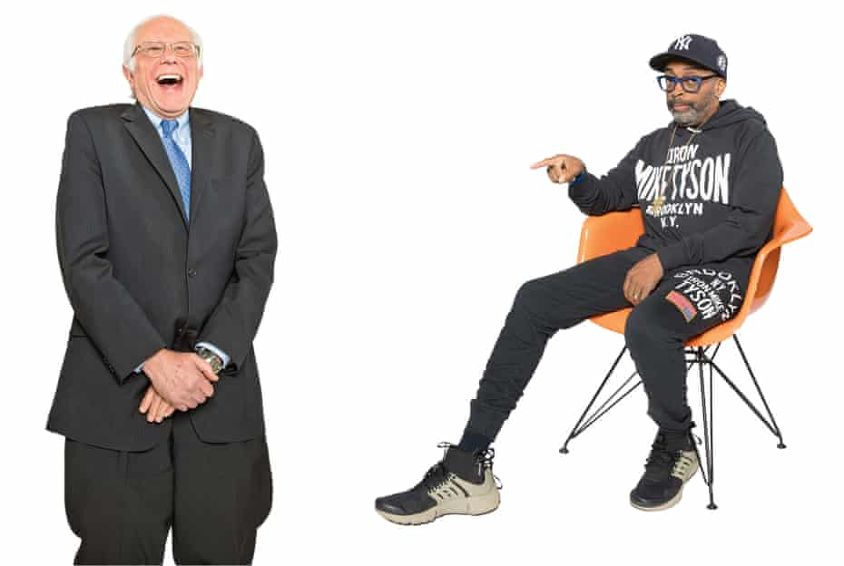 US senator Bernie Sanders and film-maker Spike Lee, talking