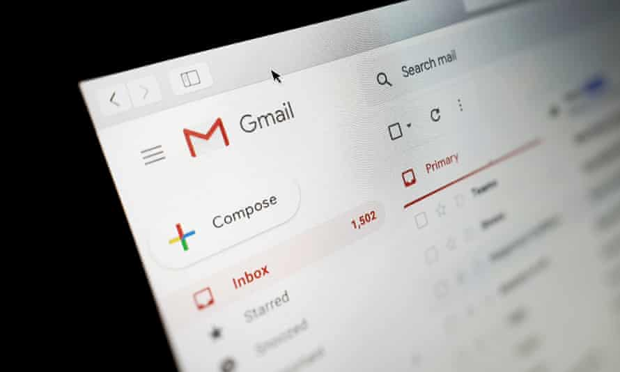 Gmail inbox on a laptop.