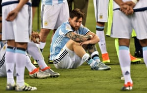 Lionel Messi after Argentina's defeat by Chile in the 2016 Copa América final. He quit international football but then reversed that decision.