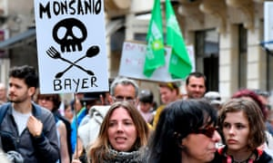 Demonstrators march for agroecology and civil resistance against pesticide maker Monsanto in Bordeaux, France last year.