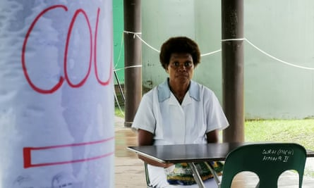 A nurse at a coronavirus screening station in Papua New Guinea