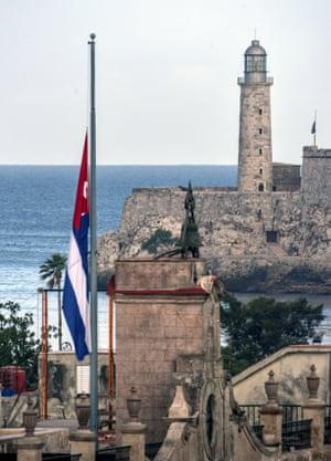 A Cuban flag at half-mast in Havana.