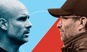 Manchester City's Pep Guardiola and Liverpool's Jurgen Klopp: one will celebrate the Premier League title on Sunday.