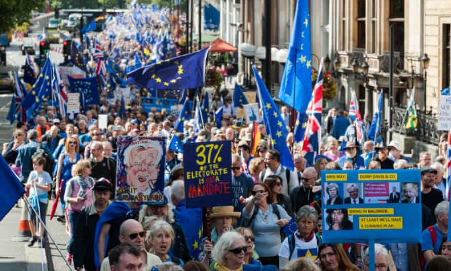 Remain supporters march through central London to attend a rally in Parliament Square.