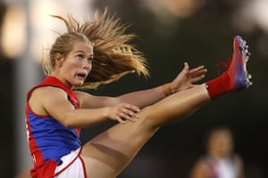 Melbourne, Australia: Eden Zanker of the Demons kicks the ball during the 2020 AFLW round three match between St Kilda Saints football club and the Melbourne Demons at RSEA Park