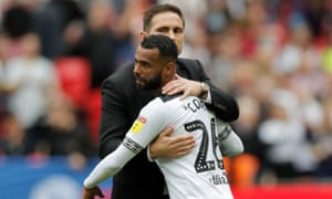 Ashley Cole is consoled by Frank Lampard after Derby's Championship play-off defeat to Aston Villa – the defender's last match as a player.